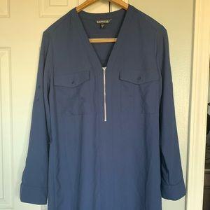 Express. Navy dress. Size medium. Silver zipper